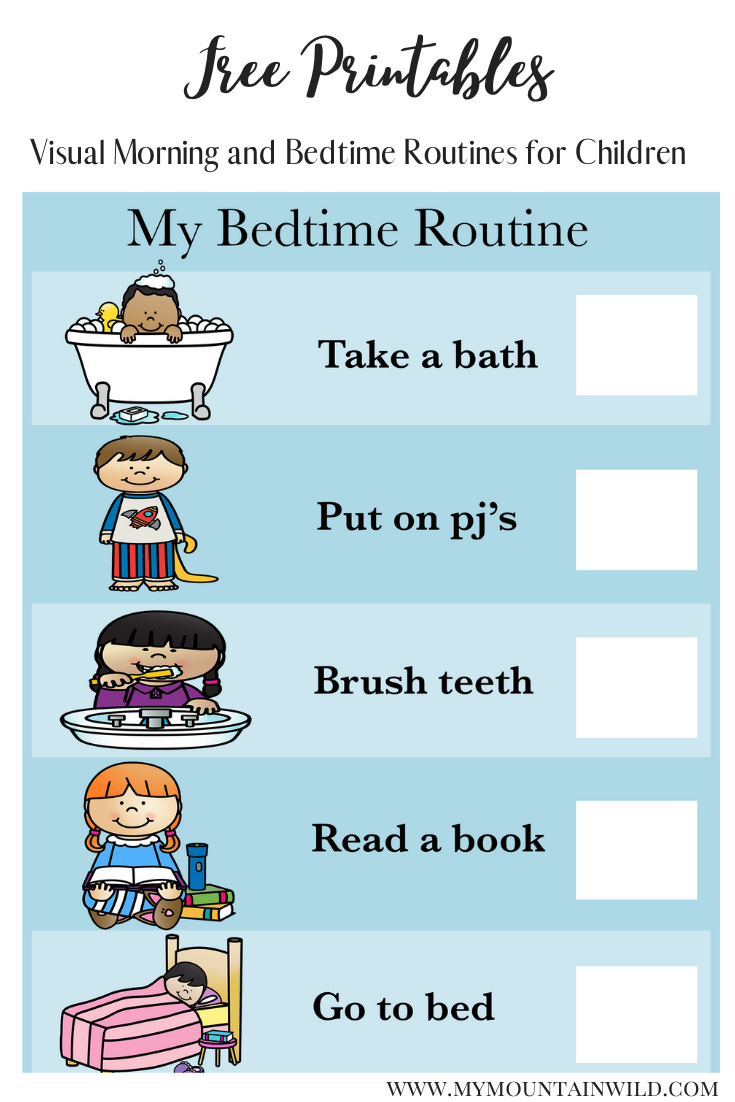 Visual Schedule For Children Morning And Bedtime Routines My Mountain Wild