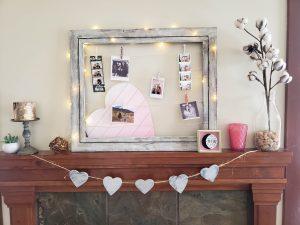 DIY valentines mantel