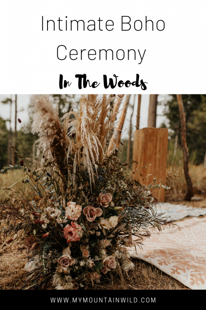 intimate boho ceremony in the woods